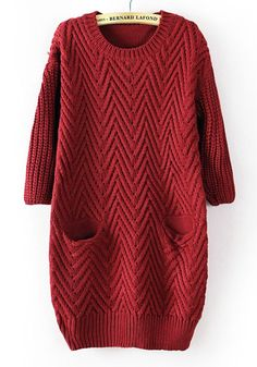 So GORGEOUS!!! Red Plain Pockets Round Neck Straight Cotton Sweater #red #sweater #fashion