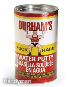 Durham's Water Putty - excellent product -Rock hard. Plastic repair material in powder form; to be mixed with water. Will not shrink. Can be used on walls, floors, furniture, woodwork or plaster. Hardens in 30 minutes. Can be colored or painted.