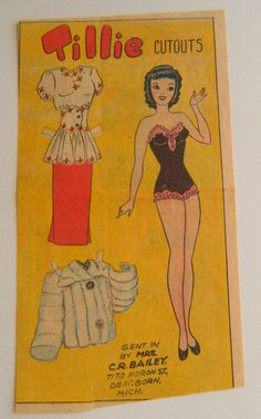 Tillie 1940 Newspaper Paper Doll,  Paper Ephemera, Collectible Paper, Collectibles, Doll, Paper Doll, Vintage