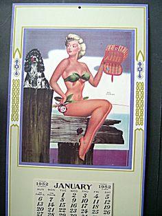 Bill Layne Pin Up Calendar, 1952 Fishing