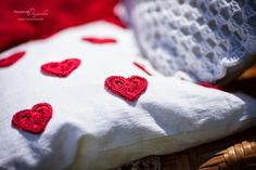 Crochet heart  pillow