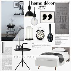 """Minimal Bedroom in B&W"" by helenevlacho on Polyvore"