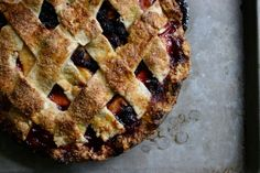 """""""Old Fashioned"""" (meaning bourbon & bitters) Peach-Blackberry Pie. Guest post for The Joy of Cooking."""