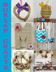 Burlap Crafts @ Hidden Treasures - http://hiddentreasurecrafts.blogspot.com/2013/03/burlap-crafts.html