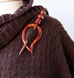 Wood Shawl / Scarf Pin, available from Elena Rosenberg Wearable Fiber Art