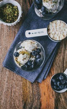 Mix up a batch of coconut ice cream to top with cinnamon and blueberries.