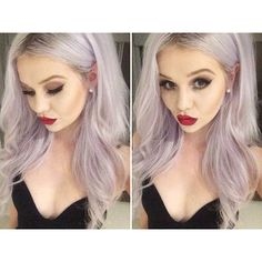 This girl is beautiful.  pastel bleached hair.  Red lips.  winner!!