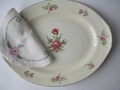 Vintage Homer Laughlin Pink Floral Serving Platter by thechinagirl