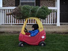 Best Christmas Photo Idea - Christmas Tree and Flintstone Car