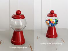Make your own gumball machine centerpiece or party favor out of small glass votive, terra cotta pot and base, and small wooden ball.  Spray paint red and glue together using E 6000.