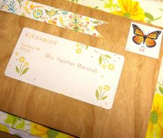 label and floral tape on wood