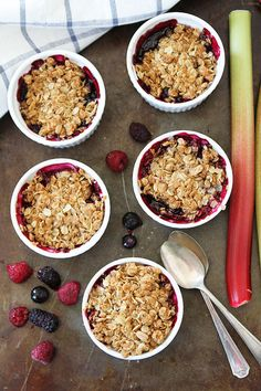 Rhubarb Berry Crisp Recipe on twopeasandtheirpod.com. This easy crisp recipe makes a delightful dessert! #rhubarb #dessert #summer