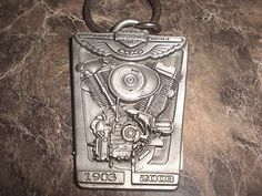 Harley Davidson 100th Anniversary Items | HARLEY-DAVIDSON-100TH-100-YEAR-ANNIVERSARY-PEWTER-MOTOR-KEY-RING-CHAIN ...