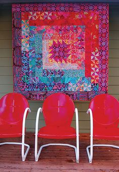 garden medallion, medallion quilt, wall quilts, log cabins, color combinations, fasset fabric, kaff fasset, front porches, bright colors