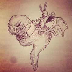 Flying slug monster with a demon bunny on its back