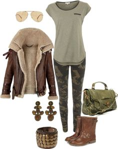 """""""Safari outfit"""" by beauty-deluxe on Polyvore- I would totally wear this!! Maybe not the camo leggings... I might be too old for that part..."""
