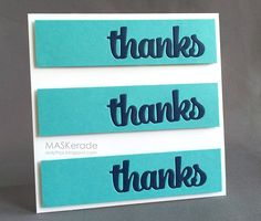 Beautiful inlaid blue and aquamarine handmade thank you card.  So clean and simple, it looks so professional.