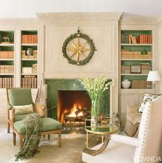 Beautiful coloring: Richard Hallberg Design - Easy Style - Veranda california homes, color schemes, fireplace surrounds, fireplace design, backgrounds, bookcas, shelv, accent colors, veranda
