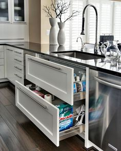 Sink drawers - much more useful than sink cupboards.