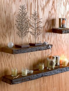 """RUSTIC SHELVES Recycled Wood $28-$84    Made from colonial-era railroad ties procured from northern India, our recycled hardwood shelves have been oiled and polished to a deep sheen. No two pieces are alike. The depth of each shelf will vary slightly. Wall mounting hardware is included. Three sizes available.         Available in three sizes:  -small 7"""" x 5-7"""" x 2""""  -medium 18"""" x 5-7"""" x 2""""  -large 36"""" x 5-7"""" x 2 """"  -imported"""