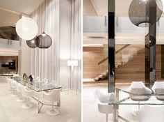 elegant loft - Time to Dine: in all white. Interior Design: OKHA Interiors.