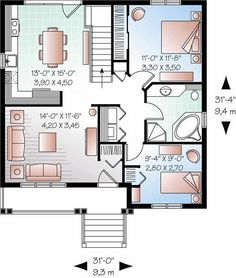 Small house plans on pinterest floor plans small house for 16x32 2 story house plans