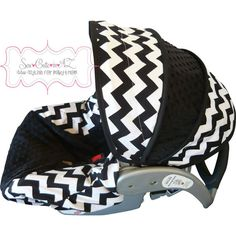 Black and White Chevron Infant Car Seat Cover by sewcuteinaz, $65.00