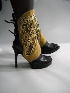 These look like easy spats to make any shoes steampunk or goth at a low cost. #steampunk #goth #gothic #costume #ideas #fashion #spats #shoes