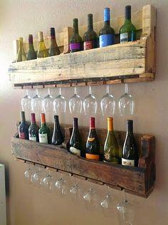 wine racks, pallet projects, bar areas, project inspir, wine glass, coffee cups, wine holders, wood pallets, wineglass