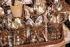 rusty chair springs - silverware holder