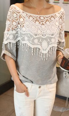 lace tops, cloth, loos fit, lace splice, floral cutout