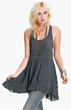 Free People Lace Trim Trapeze Tunic Dress | Nordstrom