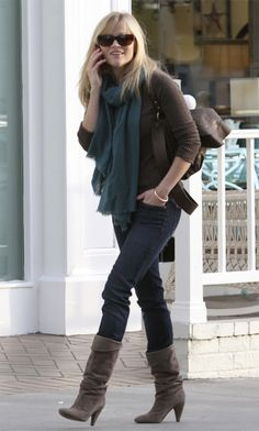 reese witherspoon, rees witherspoon, inspiration, closets, casual styles, winter outfit, suede boot outfit, closet inspir, boots