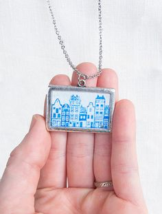 Amsterdam Canal House necklace - Hand painted pendant by SarahLambertCook