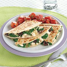 Spinach and cheese quesadilla with maybe a cucumber and tomato salad?  Idea!