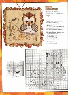 cross stitch halloween, stitch ornament, crossstitch, owl, halloween cross stitch