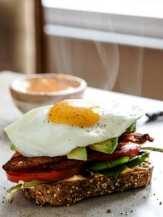 Avocado BLT's with Spicy Mayo and Fried Eggs Yummy. Throw this on ...