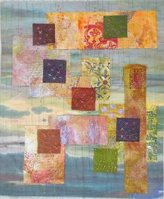 """Fragmentary"", 17″ x 20 1/2″,  by Susan Purney Mark.  Art quilt,  dyed, stamped and screen printed cotton, silk and linen."
