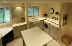 Large laundry room - great island to fold clothes on