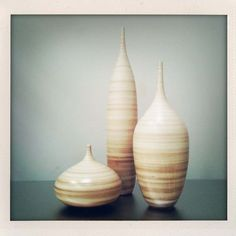 Large Shell Striped Bottle Trio- by Sara Paloma. $400.00, via Etsy.