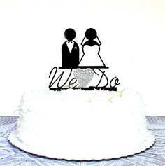 Silhouette Wedding Cake Topper WE DO by CreativeButterflyXOX