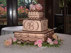 Square Tiered Cake gorgeous design and colors