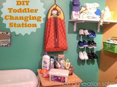 DIY Toddler Changing Station - make changing your toddler (or baby!) easier by doing some simple organizing