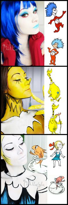 Dr. Seuss #cosplay #makeup, Thing 1, Sneetch, Sally | http://madeulookbylex.deviantart.com/gallery/44758726