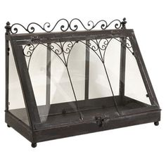 Wrought iron and glass terrarium with scrollwork trim.        Product: TerrariumConstruction Material: Wrough...