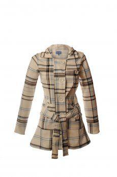 Jess Hooded Coat, Blue Black and White