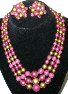 1950s Purple and gold three strand necklace by Cherrybombsvintage, $40.00
