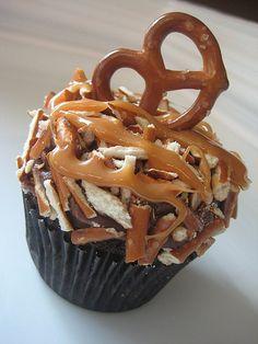chocolate caramel pretzel cupcake.