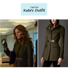 "On the blog: Kate Beckett's (Stana Katic) olive green military style coat with buckle detail | ""Deep Cover"" (Ep. 612) #tvstyle #tvfashion #outfits #fashion"