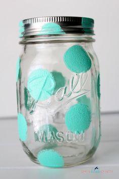 Polka dot painted mason jar.
